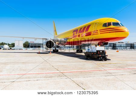 Ukraine, Borispol - MAY 22 : The Boeing 757-200 to transport cargo company DHL at Borispol International Airport on May 22, 2015 in Borispol, Ukraine