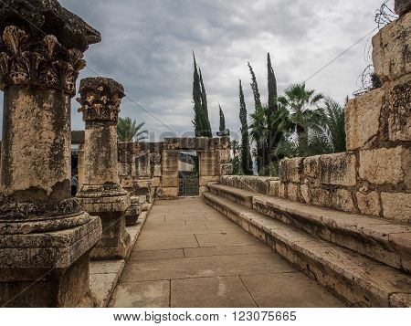 Ruins of synagogue in ancient Capernaum archaeological site in Galilee Israel