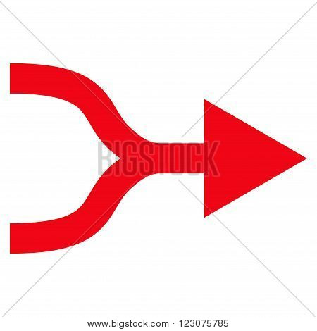 Combine Arrow Right vector icon. Style is flat icon symbol, red color, white background.