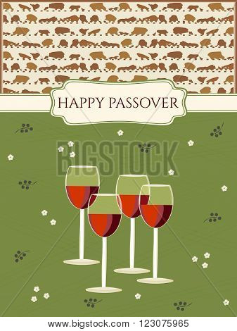 Passover Greeting card design vector template. Jewish Spring holiday greeting card / poster. Matzo pattern background, four glasses of red wine traditional for Passover Seder Table. Layered editable
