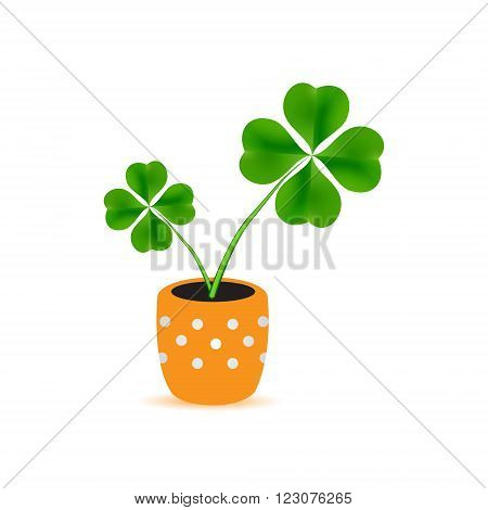 Dotted Flower Pot With Cloverleaf Plant Icon Eps10