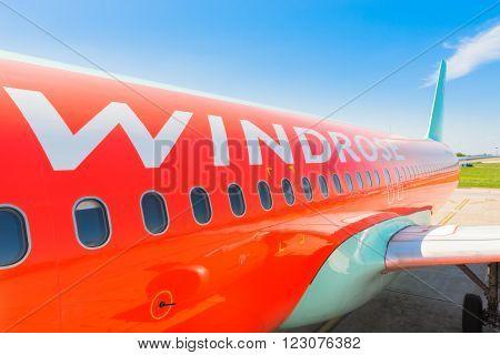 Ukraine, Borispol - MAY 22 : Aircraft airline Windrose at Borispol International Airport on May 22, 2015 in Borispol, Ukraine