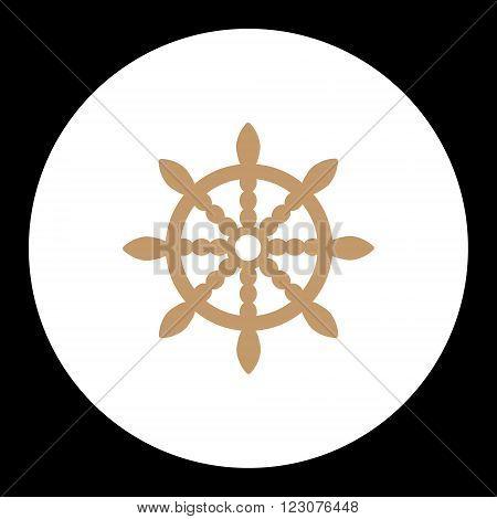 Nautical Simple Symbol Wood Brown Rudder Eps10