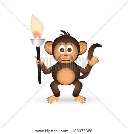 Cute Chimpanzee Little Monkey Holding Flame Torch Eps10