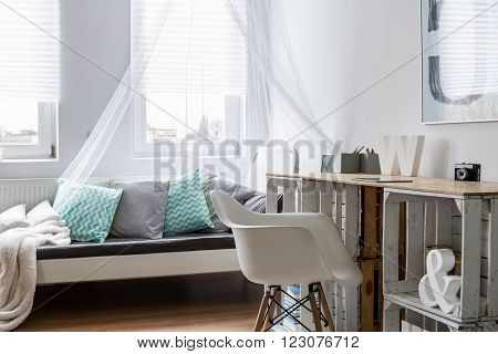 Desk Made Of Wooden Boxes In Stylish Bedroom