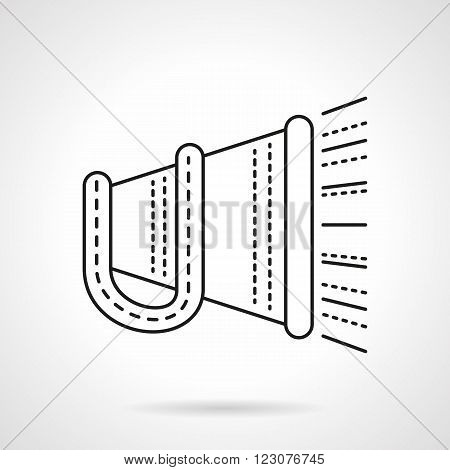 Megaphone with handle and abstract sound. Promotion and advertisement. Digital marketing. Announcing. Vector icon flat thin line style. Element for web design, business, mobile app.
