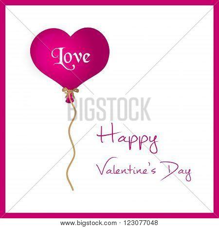 Pink Helium Balloon Heart Shape Valentine Card Eps10