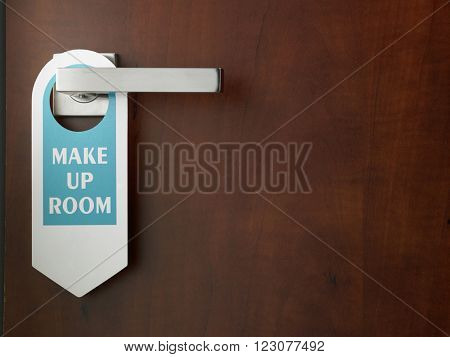 close up of the sign -make up room on door handle