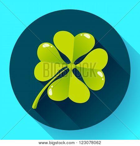 Four-leaf quatrefoil clover icon. Flat design style.