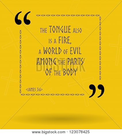 Best Bible quotes about tongue. Christian sayings for Bible study flashcards illustration