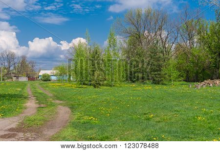 Sunny spring landscape with earth road leading to remote farm-stead in central Ukraine