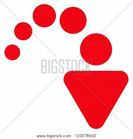 Redo vector icon. Style is flat icon symbol, red color, white background.