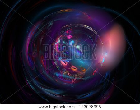 blue abstract round curves and lines on dark background