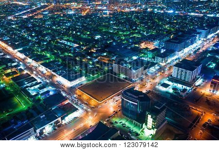 Riyadh, nght view of the city from the Al Faisaliah tower terrace