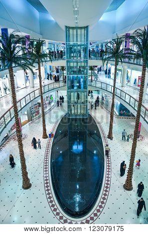 Rijadh,  Saudi Arabia - November 14, 2007:  Local people in the Al Faisaliah tower Mall.