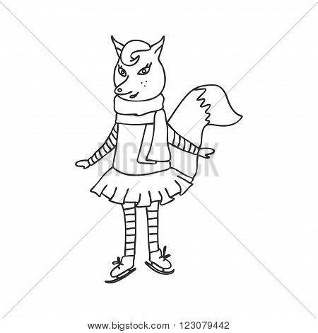 vector illustration sketch of the amusing fox by skates