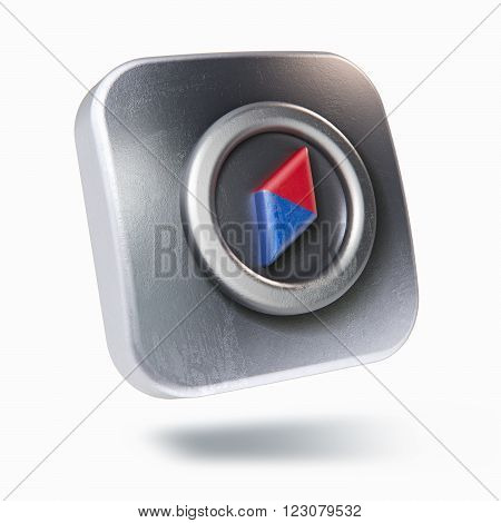 Scratched metallic square icon with compass symbol isolated on white 3D rendering