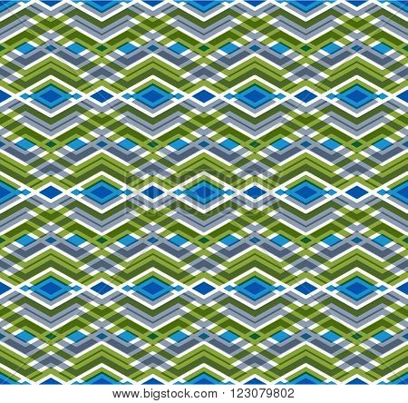 Geometric seamless pattern with transparent impose rhombs endless ethnic vector background. Never-ending colorful decorative composition.