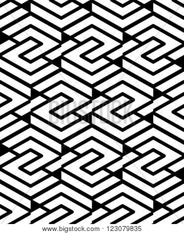 Geometric seamless pattern with parallel lines and geometric elements infinite decorative textile abstract vector textured covering. Intertwine black and white illustration.