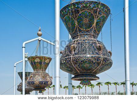 Jeddah, Saudi Arabia - November 20, 2008:  A monument of traditional household objects the Corniche area.