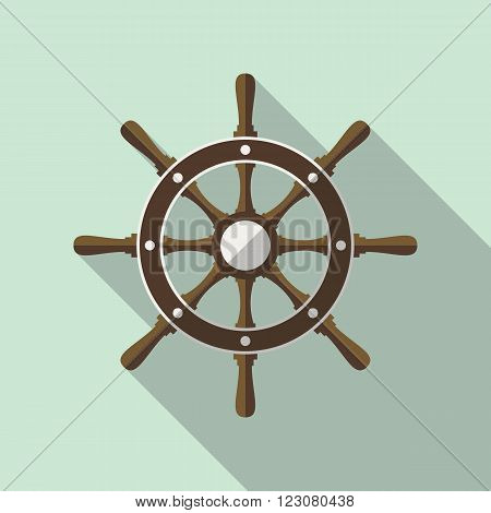 Ship's steering wheel vector flat icon with long shadow.