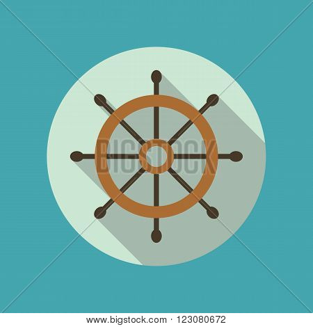 Boat's or ship's steering wheel vector flat icon inside the circle. EPS10 vector illustration.