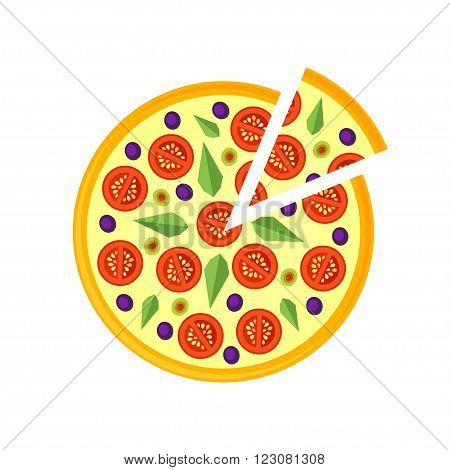 Pizza Icon isolated on a white background. Pizza slice. Pizza Icon in a flat style. Icon classic pizza margarita. Pizza with cheese tomatoes basil and olives. Vector illustration.