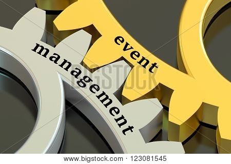 Event Management concept on the gearwheels 3D rendering