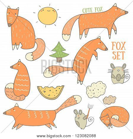 Cute hand drawn doodle fox and forest objects collection including sitting fox hunting fox running fox sleeping fox christmas tree cheese mouse sun