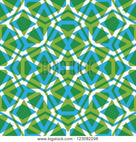Geometric symmetric lined seamless pattern colorful vector endless background. Decorative net splicing motif texture with rhombs. Green overlay ornate covering best for web and graphic design.