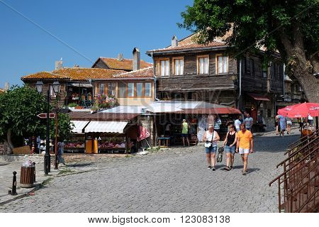 NESSEBAR BULGARIA - JULY 16: Street Mitropolitska on July 16 2015 in old town of Nessebar Bulgaria. Ancient city of Nessebar is a UNESCO world heritage site.