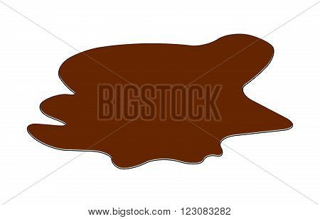 Puddle Of Chocolate, Mud Spill Clipart. Brown Stain, Plash, Drop. Vector Illustration Isolated On Th