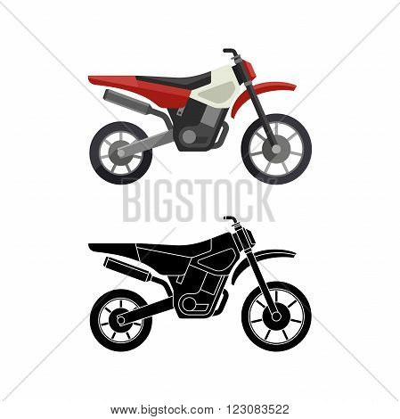Motorcycles flat icon and line illustration with black background. Vector simple illustration.
