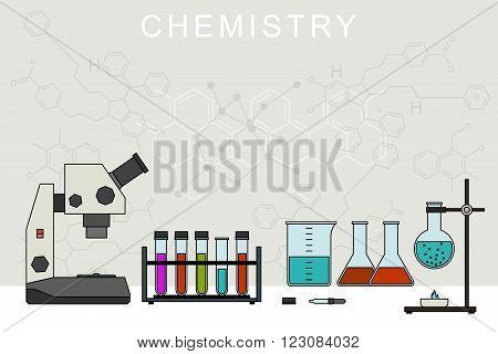 Chemistry banner with chemical equipment. Chemical experiences.