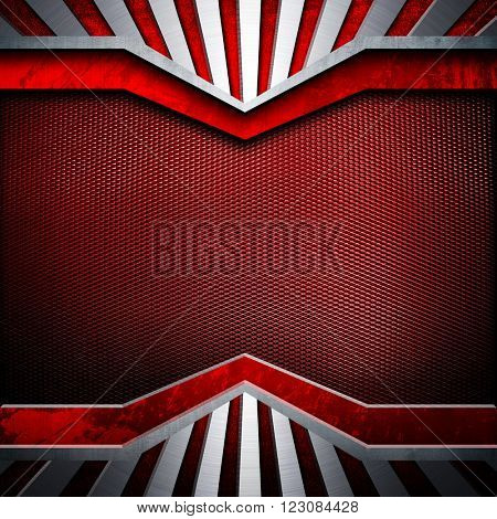 red metal template with striped background
