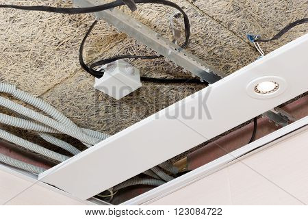 Fiber Mat And Suspended Ceilings And Electrical Wiring