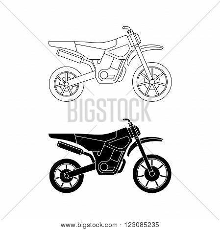Motorcycles line icons. Vector thin illustration of enduro cross bike.