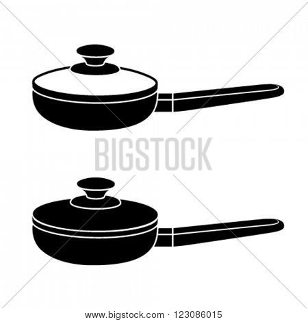 vector 3d kitchen pan black symbol