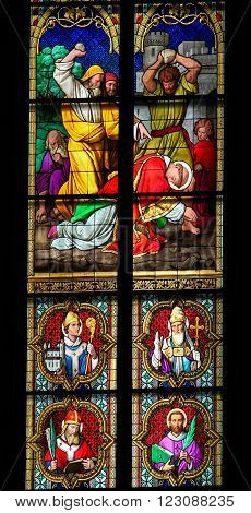 Stained Glass Depicting The Stoning Of Saint Stephen