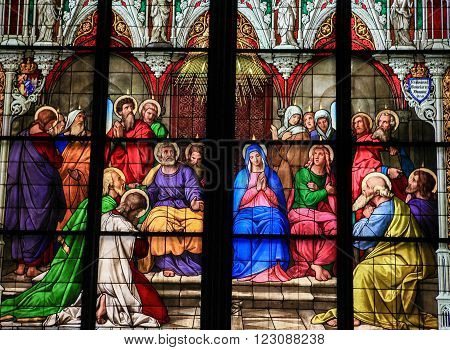 Stained Glass Church Window Depicting Pentecost