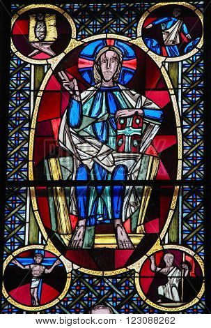 Jesus Christ - Stained Glass In Dom Of Cologne