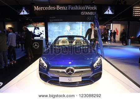 ISTANBUL TURKEY - MARCH 18 2016: Mercedes SL showcase during Mercedes-Benz Fashion Week Istanbul