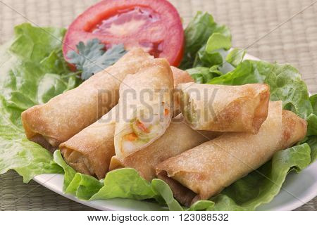 Traditional Chinese Spring Rolls showing inside of appetizer