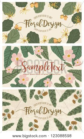 Set of banners with floral backgrounds 2