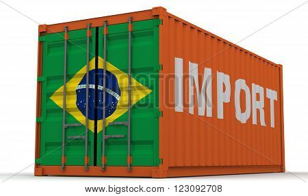 Import Brazil. Freight container on a white surface with inscription
