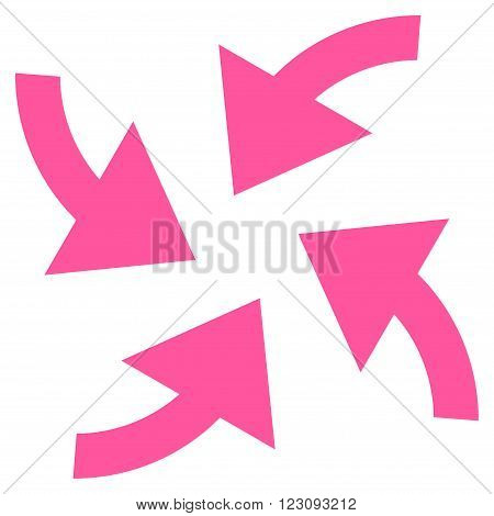 Cyclone Arrows vector icon. Style is flat icon symbol, pink color, white background.