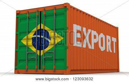 Export of Brazil. Closed freight container on a white surface with inscription
