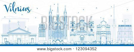 Outline Vilnius Skyline with Blue Landmarks. Vector Illustration. Business Travel and Tourism Concept with Historic Buildings. Image for Presentation Banner Placard and Web Site.