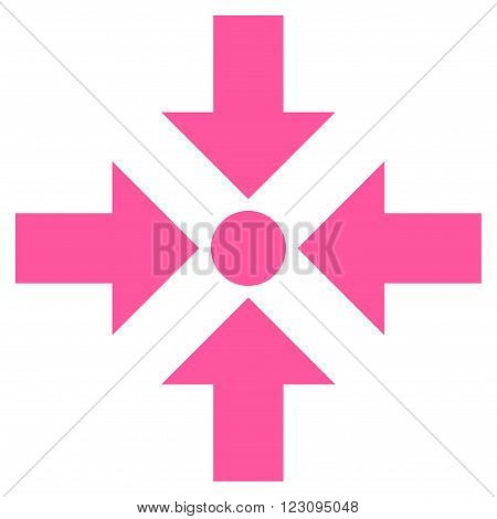 Shrink Arrows vector icon. Style is flat icon symbol, pink color, white background.