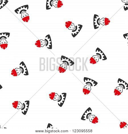 Industrial Builder vector seamless repeatable pattern. Style is flat red and dark gray industrial builder symbols on a white background.
